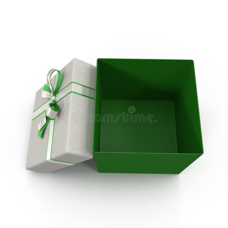 Caixa de presente verde vazia no branco ilustração 3D ilustração do vetor