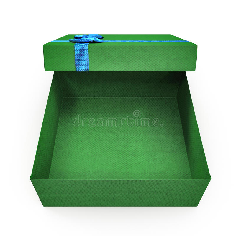 Caixa de presente verde vazia no branco ilustração 3D ilustração royalty free