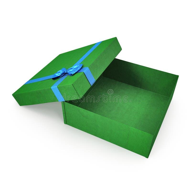 Caixa de presente verde vazia no branco ilustração 3D ilustração stock