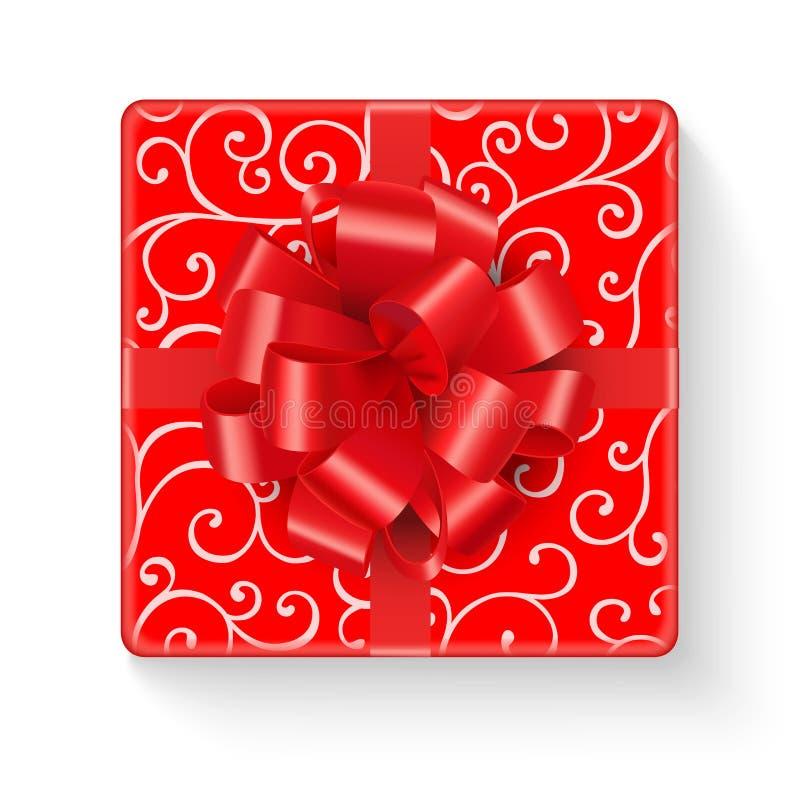Caixa de presente vermelha brilhante com linha encaracolado teste padrão ilustração do vetor