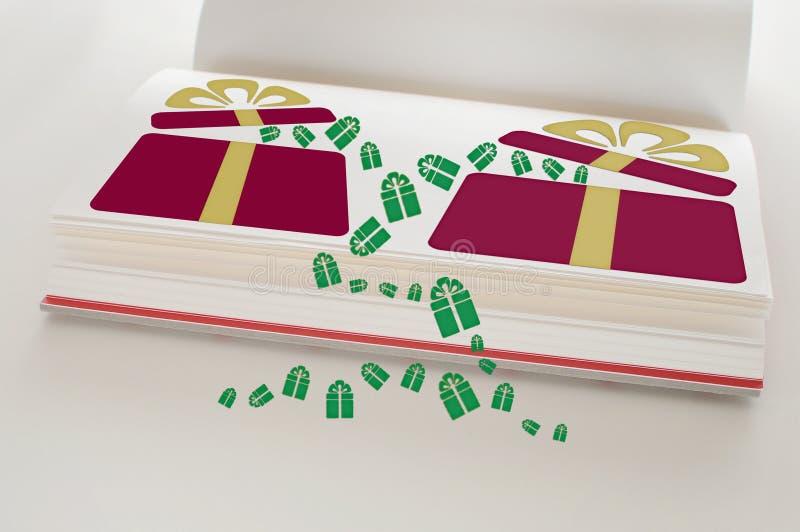 Caixa de presente vermelha com a fita amarela no livro aberto ilustração royalty free