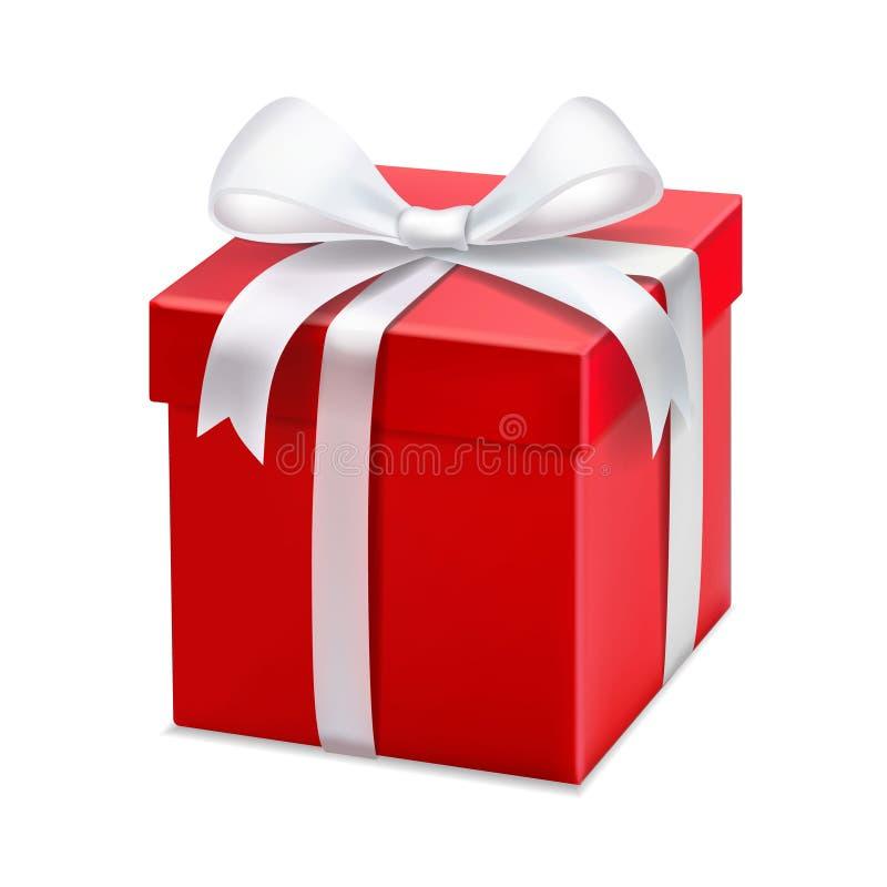 Caixa de presente vermelha com fita e curva brancas Ilustração do vetor 3d ilustração royalty free