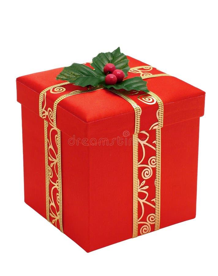 Caixa de presente vermelha do Natal com fita do ouro