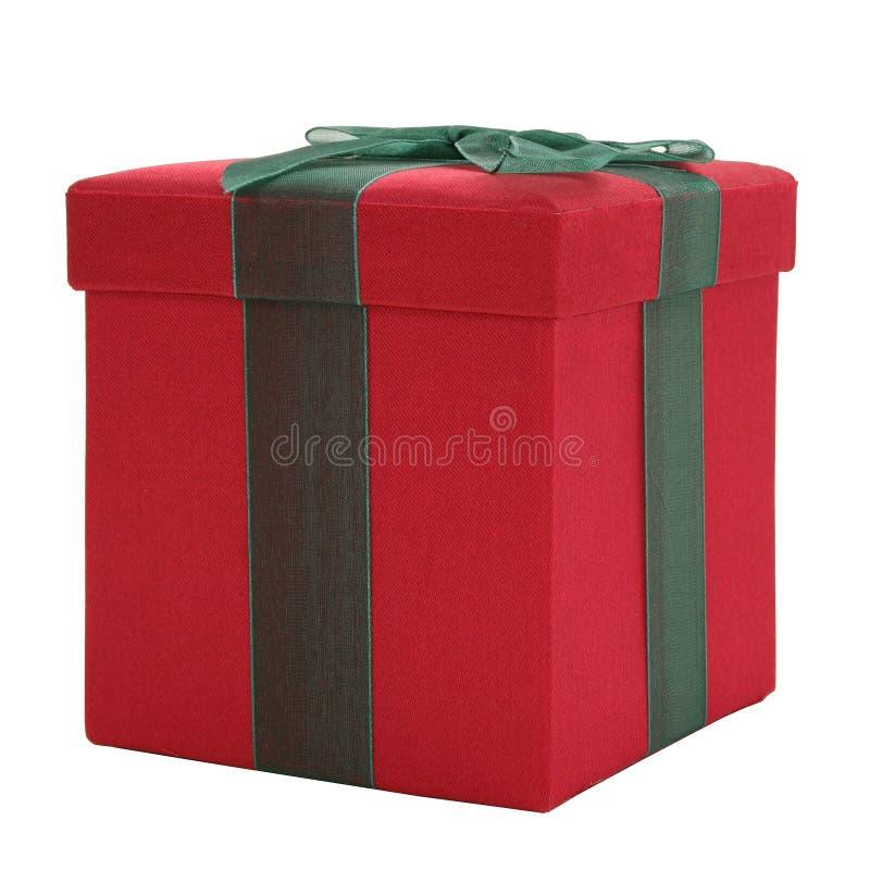 Caixa de presente vermelha e verde da tela fotos de stock