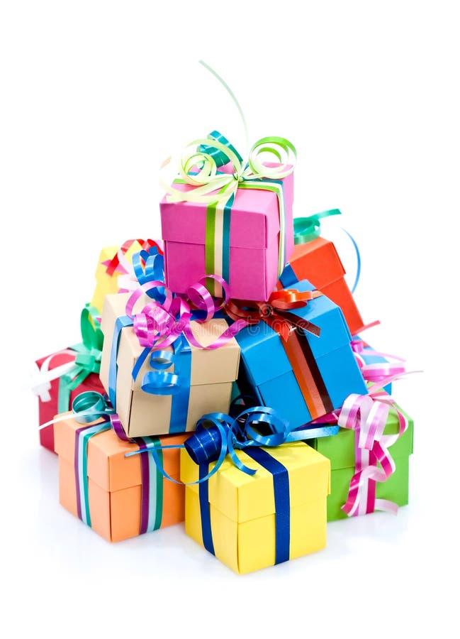 Caixa de presentes colorida foto de stock royalty free