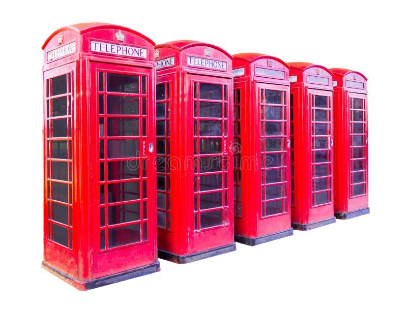 A caixa de telefone cinco vermelha em Londres isolou-se no fundo branco com trajeto de grampeamento imagens de stock royalty free