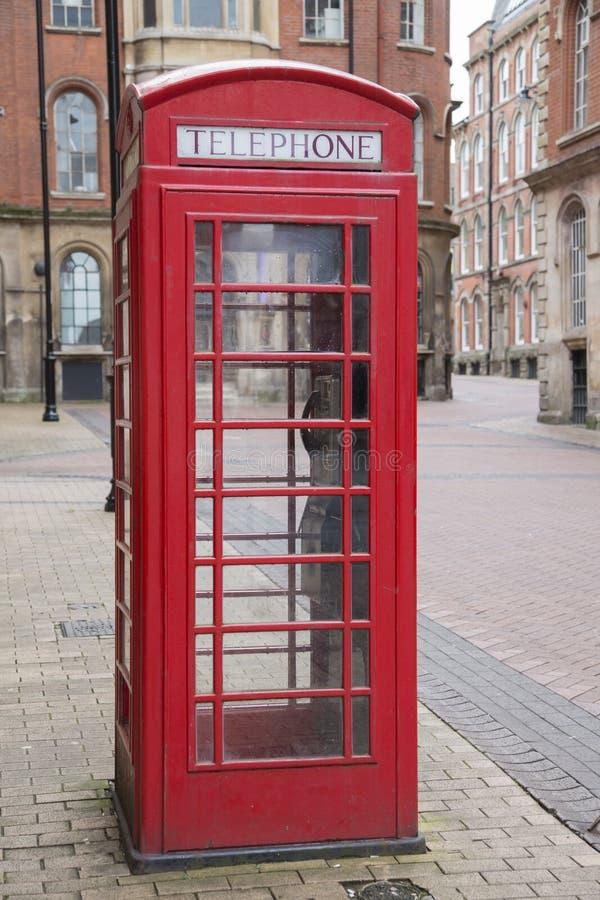 Caixa de telefone vermelha, rua de Broadway, distrito do mercado do laço, Nottin imagem de stock