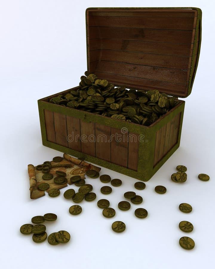 Caixa de tesouro completamente de moedas de ouro com mapa e chave ilustração do vetor