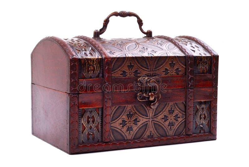 Caixa de tesouro fechada e travada imagem de stock