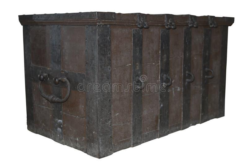 Caixa de tesouro Locked antiga velha imagem de stock