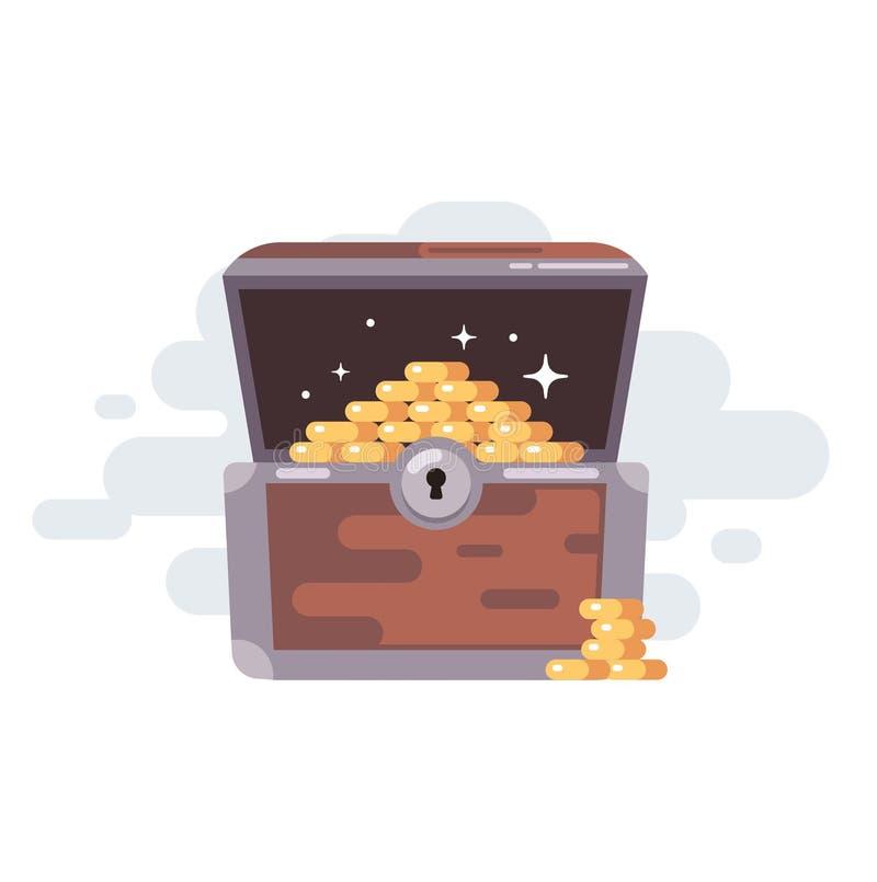 Caixa de tesouro velha com moedas Moedas douradas ilustração do vetor