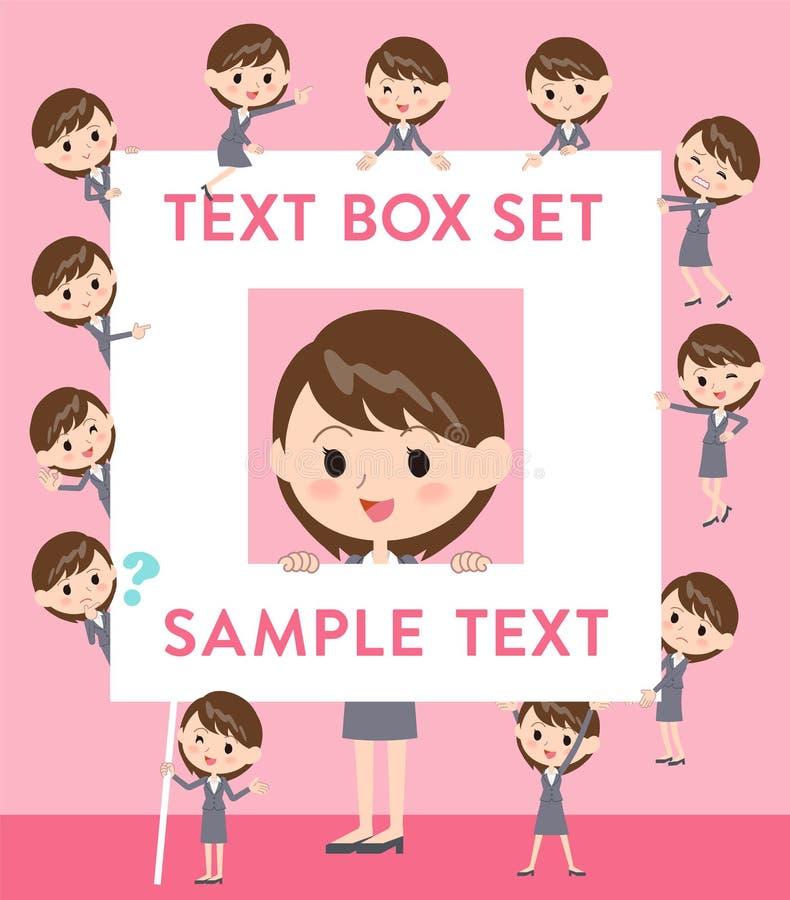 Caixa de texto cinzenta da mulher de negócio do terno ilustração royalty free