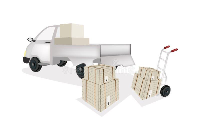 Caixa de transporte da carga do caminhão de mão no camionete ilustração royalty free