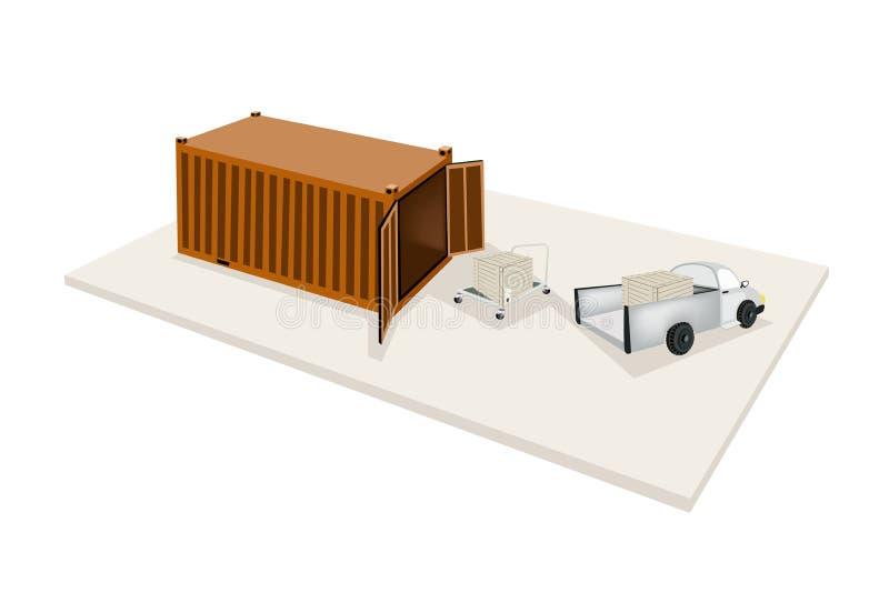 Caixa de transporte da carga do caminhão de mão no recipiente ilustração do vetor