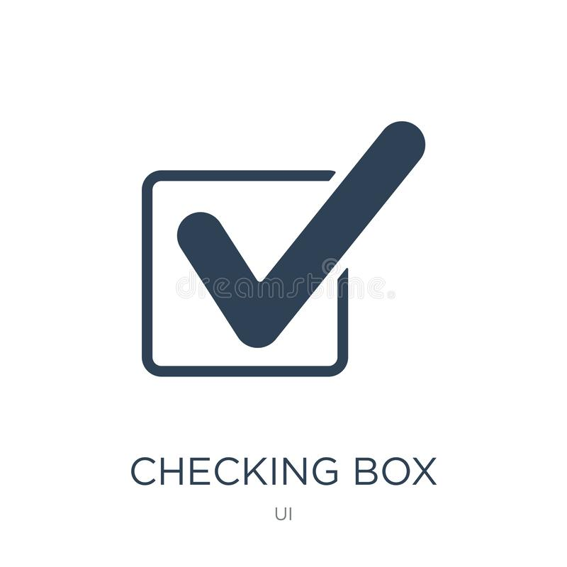 caixa de verificação com um ícone do sinal no estilo na moda do projeto caixa de verificação com um ícone do sinal isolado no fun ilustração stock