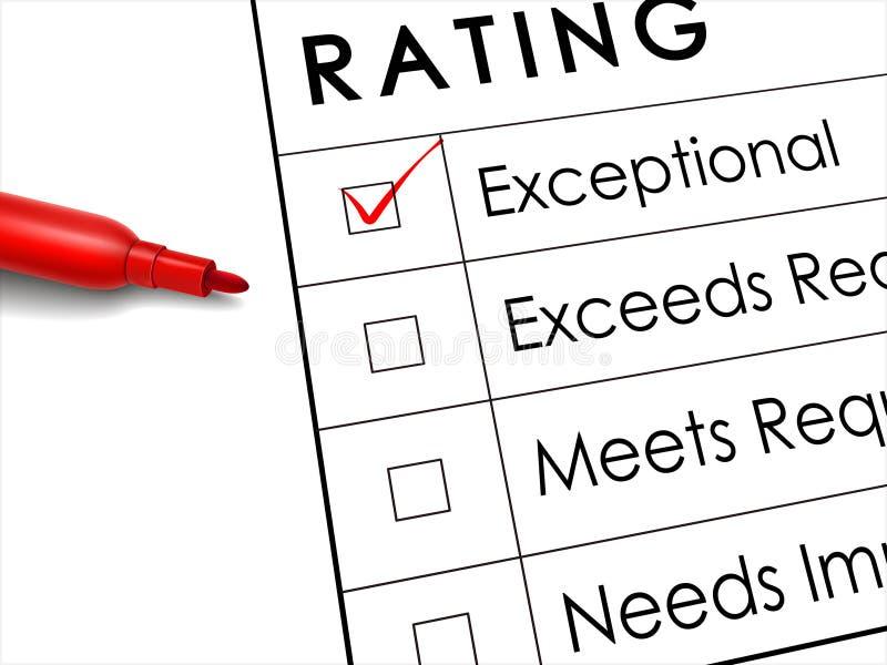 Caixa de verificação excepcional com a pena vermelha sobre a avaliação da avaliação ilustração stock