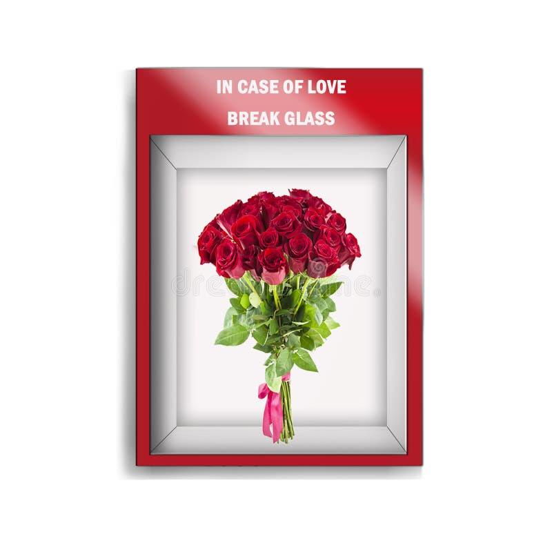 Caixa de vidro da emergência que contém rosas ilustração stock