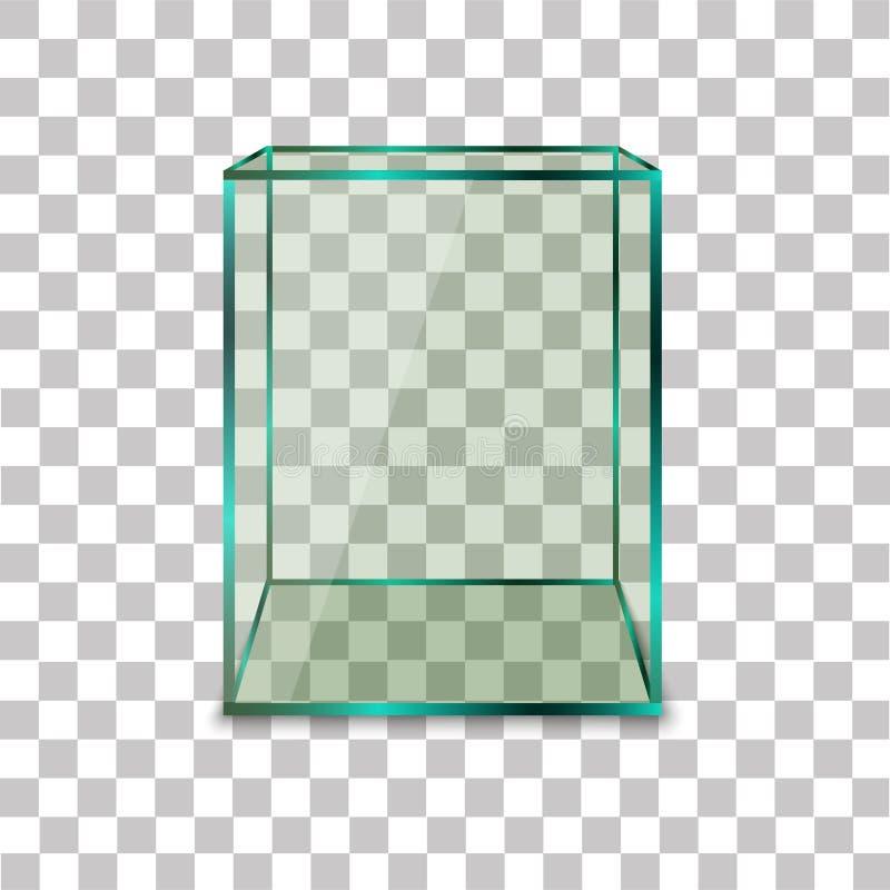 Caixa de vidro vazia no fundo transparente Ilustração do vetor ilustração royalty free