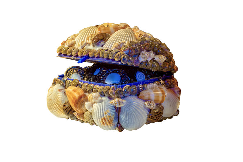 Caixa decorada com shell do mar foto de stock