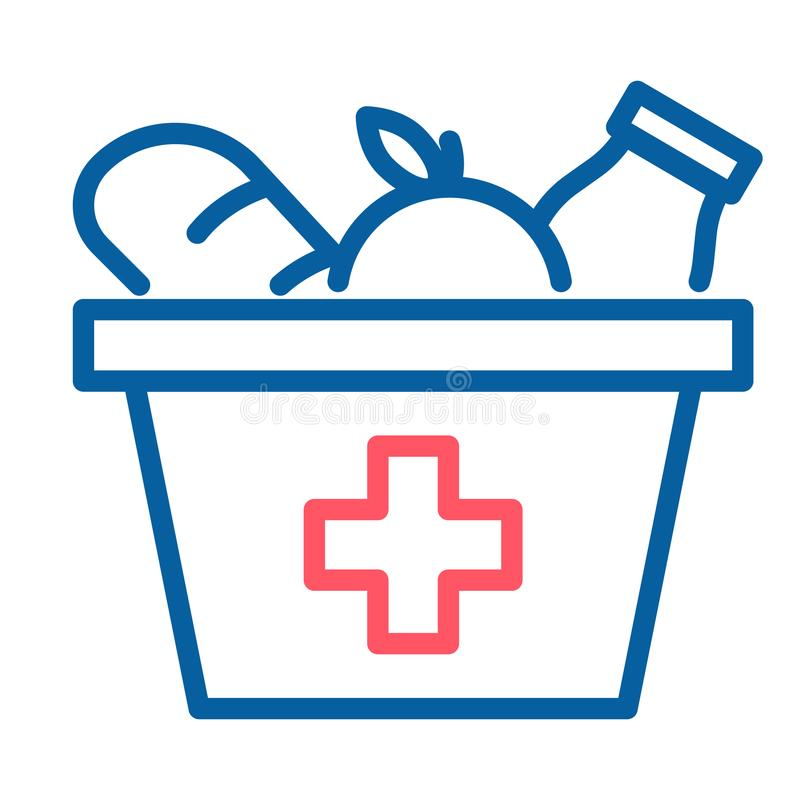 Caixa do alimento com um ícone da cruz vermelha Linha fina ilustração do vetor O mantimento provisions a doação ilustração royalty free