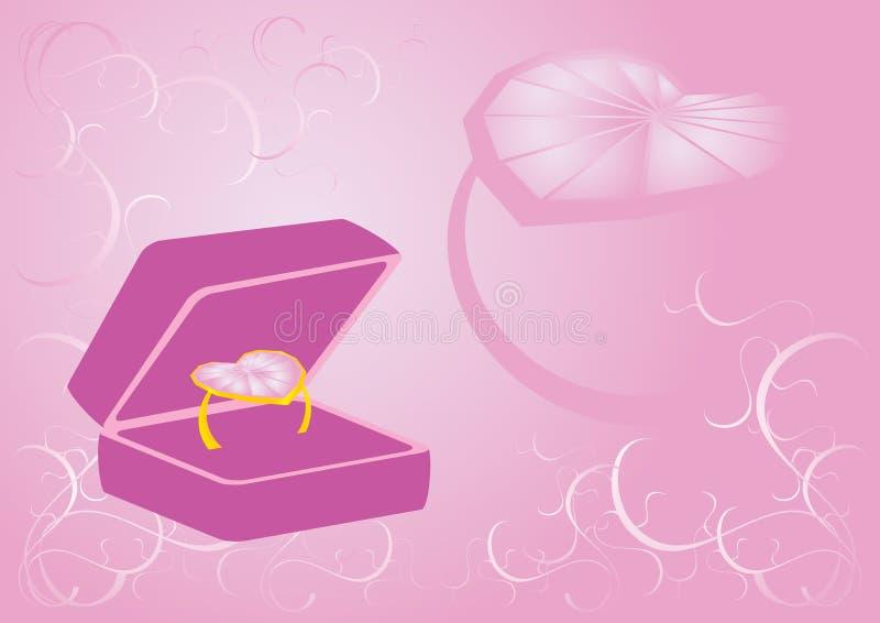 Caixa do anel do coração ilustração stock