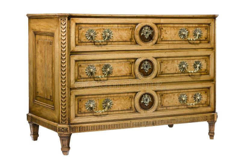 Caixa do armário do departamento de gavetas à moda com ouropel isolada fotografia de stock