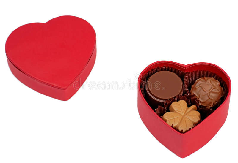 Caixa do chocolate do Valentim imagem de stock royalty free