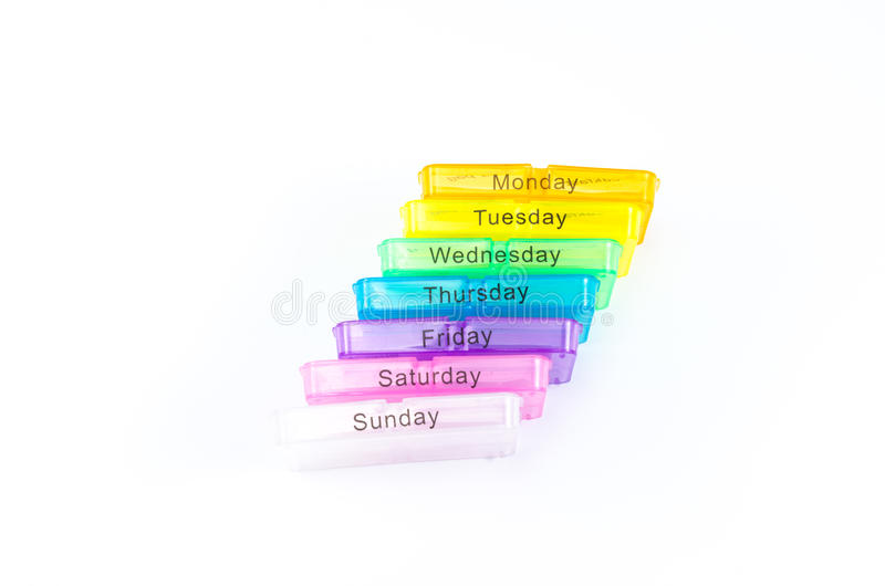 Caixa do comprimido da cor isolada no fundo branco foto de stock royalty free