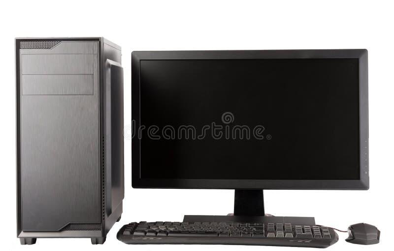 Caixa do computador da torre de Midi com o monitor conduzido no fundo branco imagens de stock