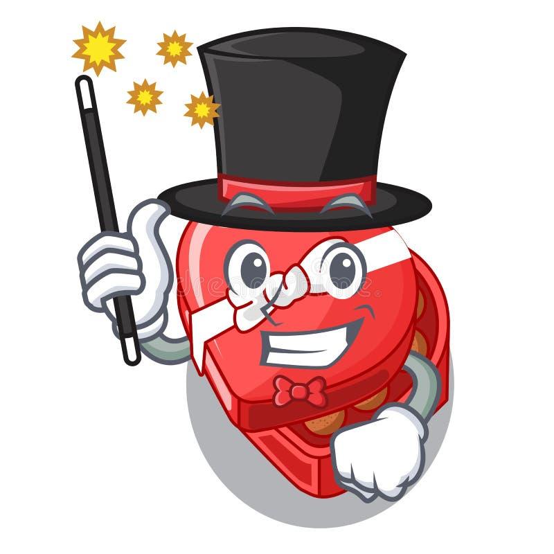 Caixa do coração do chocolate do mágico acima do refrigerador dos desenhos animados ilustração do vetor