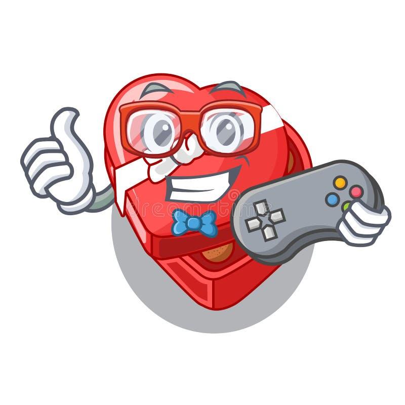 Caixa do coração do chovolate do Gamer isolada com caráteres ilustração royalty free