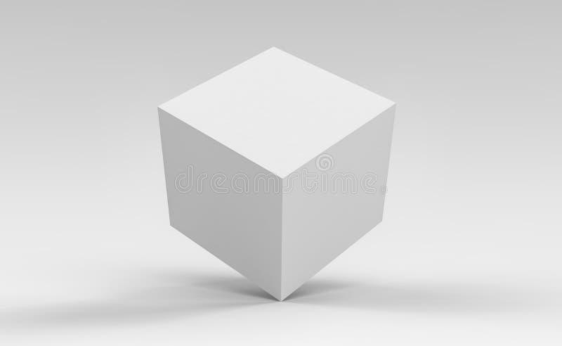 caixa do cubo 3d para render no fundo isolado para o modelo e o molde do projeto de pacote do produto ilustração do vetor