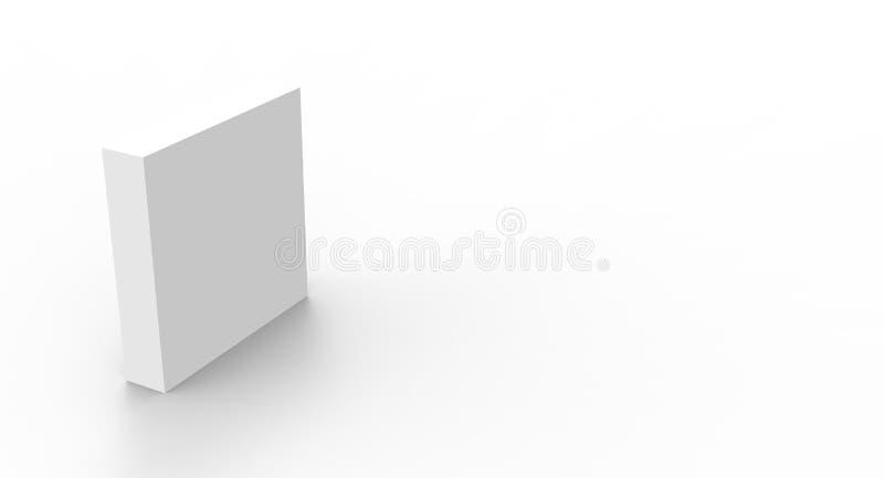 caixa do cubo 3d para render no fundo isolado para o modelo e o molde do projeto de pacote do produto ilustração royalty free