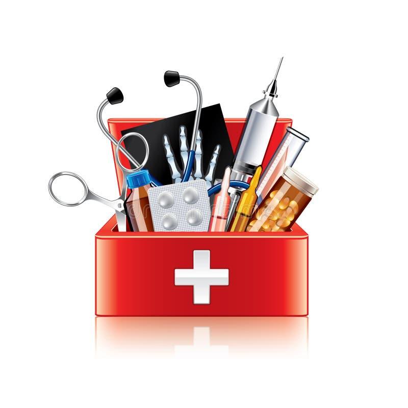 Caixa do equipamento médico no vetor branco ilustração do vetor
