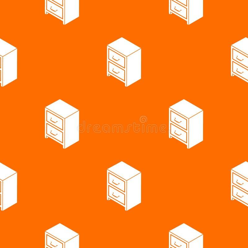 Caixa do escritório da laranja do vetor do teste padrão das gavetas ilustração stock