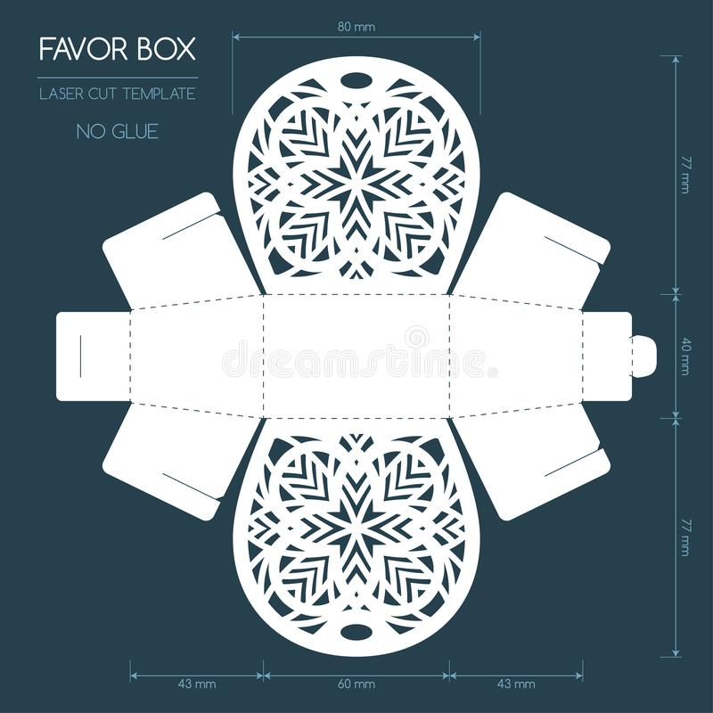 Caixa do favor do corte do laser ilustração stock