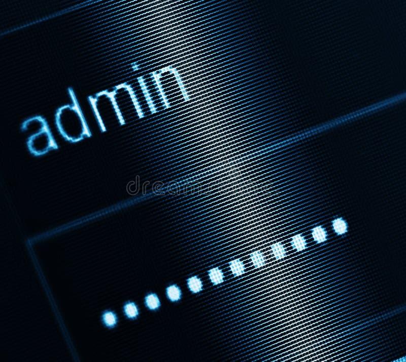 Caixa do início de uma sessão - username Admin e senha foto de stock