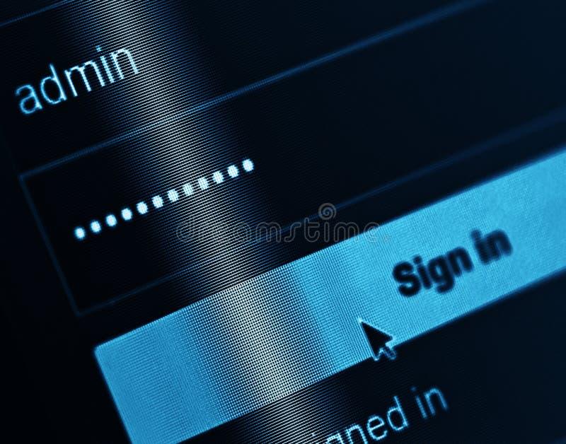 Caixa do início de uma sessão - username Admin e senha imagens de stock