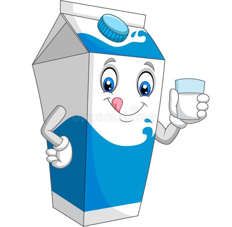 Caixa do leite dos desenhos animados que guarda um vidro do leite ilustração stock