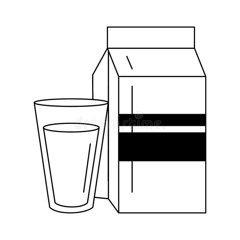Caixa do leite e copo de vidro em preto e branco ilustração do vetor