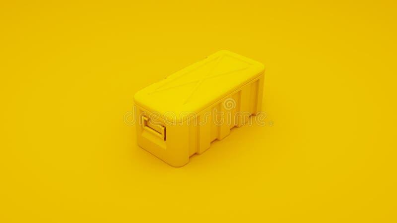 Caixa do metal amarelo 3d rendem ilustração royalty free