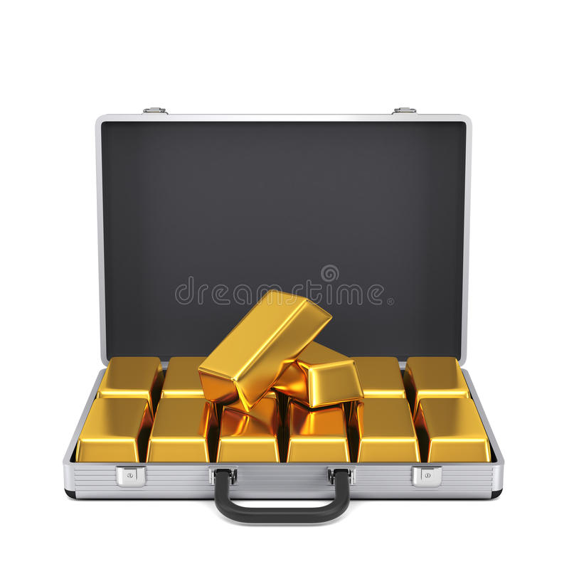 Caixa do metal com barras de ouro ilustração stock