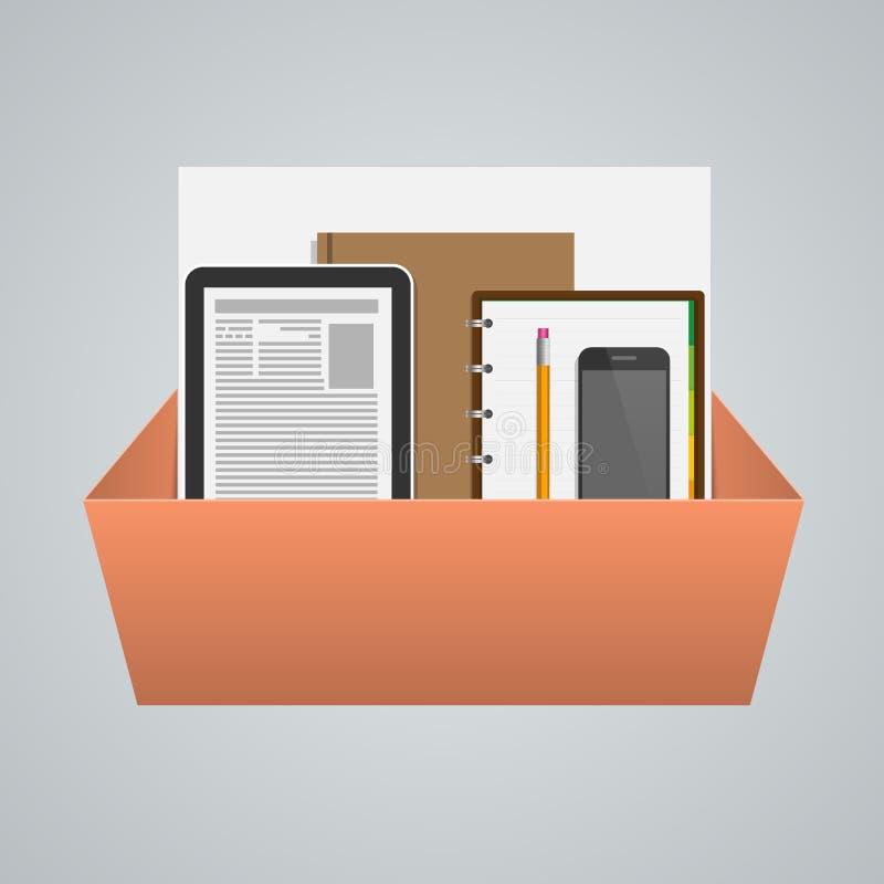 Caixa do negócio com materiais de escritório Conceito creativo ilustração royalty free