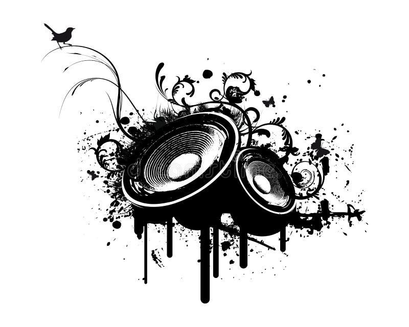 Caixa do partido de Grunge no estéreo ilustração stock