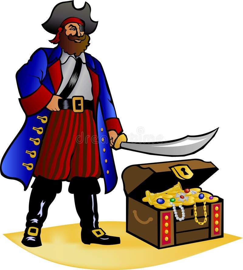 Caixa do pirata e de tesouro ilustração stock