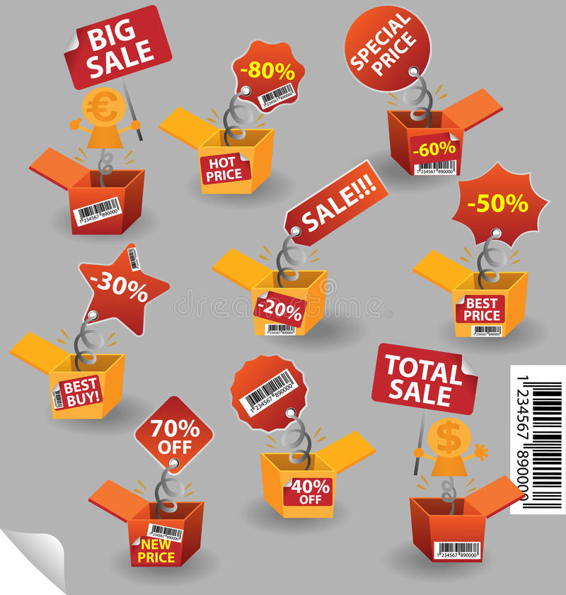 Caixa do preço ilustração stock