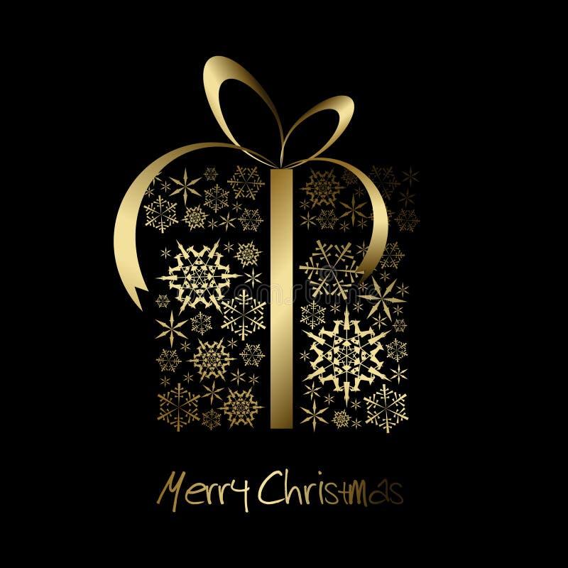 Caixa do presente de Natal feita dos flocos de neve dourados ilustração do vetor