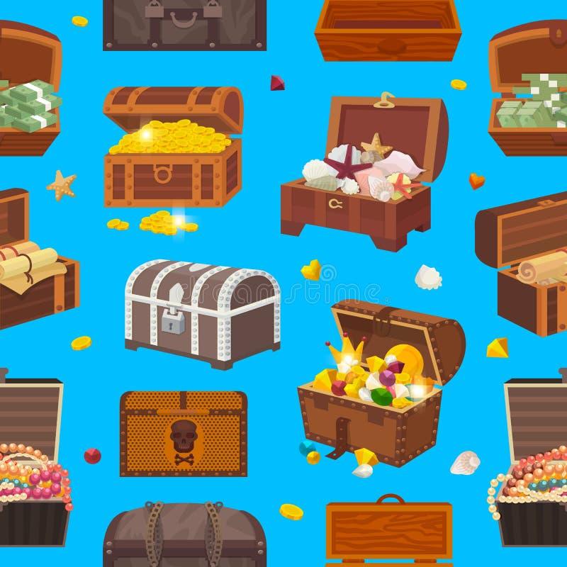 Caixa do tesouro do vetor da caixa com riqueza do dinheiro do ouro ou caixas de madeira do pirata com moedas douradas e as joias  ilustração do vetor
