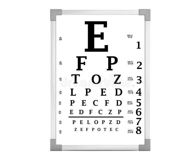 Caixa do teste da carta de olho de Snellen rendição 3d ilustração stock
