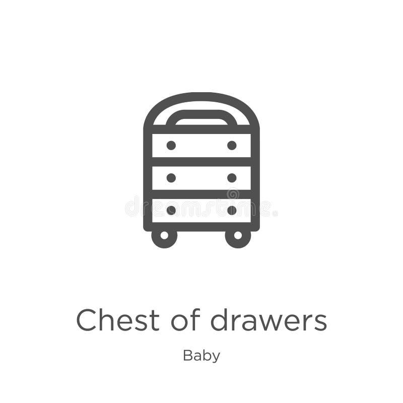 caixa do vetor do ícone das gavetas da coleção do bebê Linha fina caixa de ilustração do vetor do ícone do esboço das gavetas Esb ilustração stock
